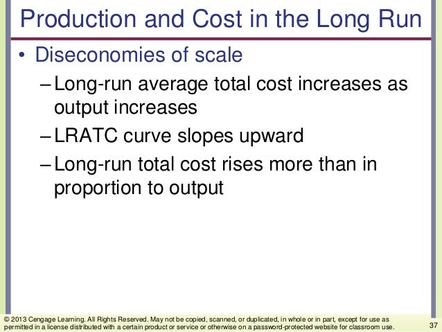 Production and Cost in the Long Run • Diseconomies of scale –Long-run average total cost increases as output increases –LR...