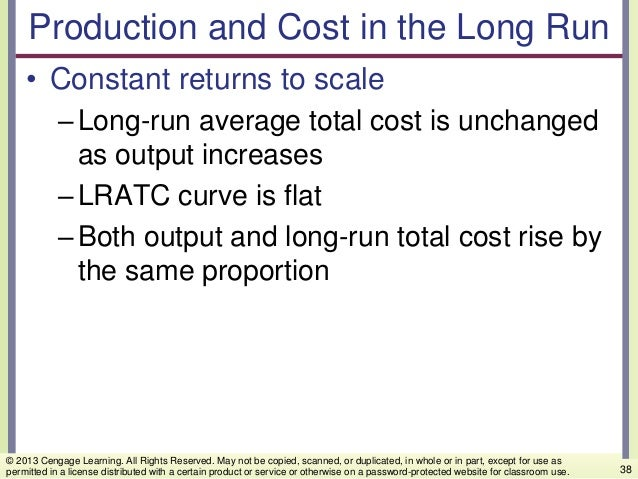 Production and Cost in the Long Run • Constant returns to scale –Long-run average total cost is unchanged as output increa...