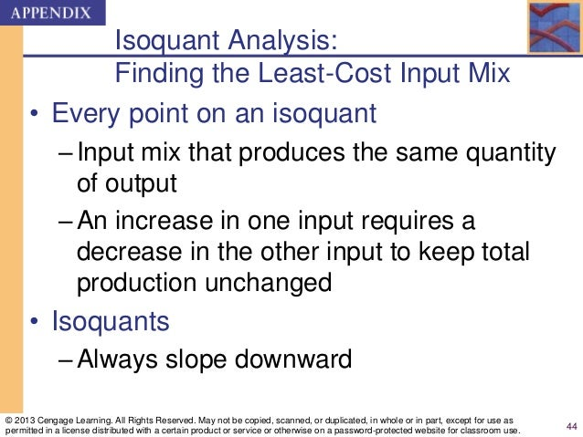 Isoquant Analysis: Finding the Least-Cost Input Mix • Every point on an isoquant –Input mix that produces the same quantit...