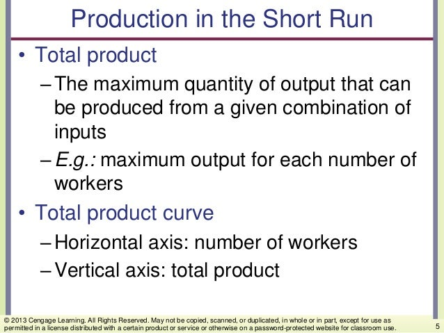 Production in the Short Run • Total product –The maximum quantity of output that can be produced from a given combination ...