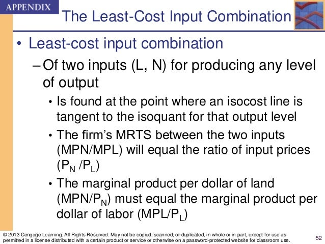 The Least-Cost Input Combination • Least-cost input combination –Of two inputs (L, N) for producing any level of output • ...
