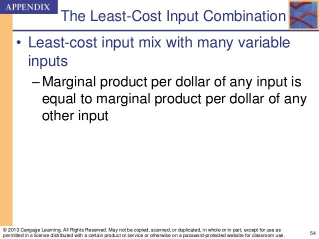 The Least-Cost Input Combination • Least-cost input mix with many variable inputs –Marginal product per dollar of any inpu...
