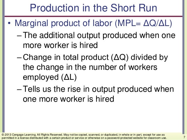 Production in the Short Run • Marginal product of labor (MPL= ΔQ/ΔL) –The additional output produced when one more worker ...