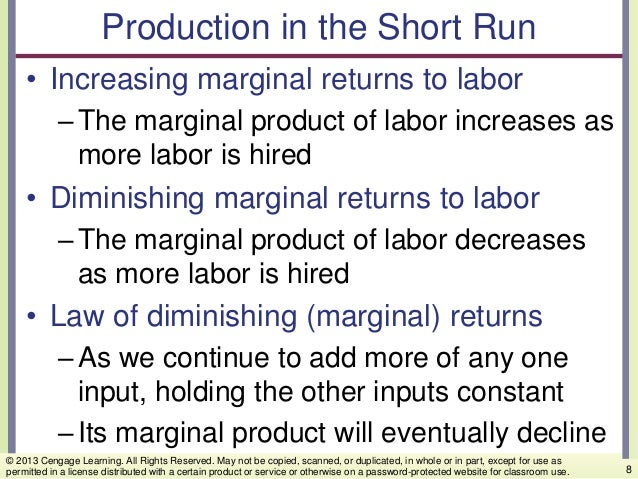Production in the Short Run • Increasing marginal returns to labor –The marginal product of labor increases as more labor ...