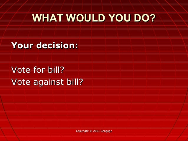 Your decision:Your decision: Vote for bill?Vote for bill? Vote against bill?Vote against bill? Copyright © 2011 CengageCop...