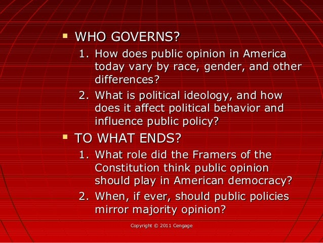 Copyright © 2011 CengageCopyright © 2011 Cengage  WHO GOVERNS?WHO GOVERNS? 1.1. How does public opinion in AmericaHow doe...