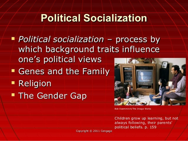 Political SocializationPolitical Socialization  Political socialization –Political socialization – process byprocess by w...