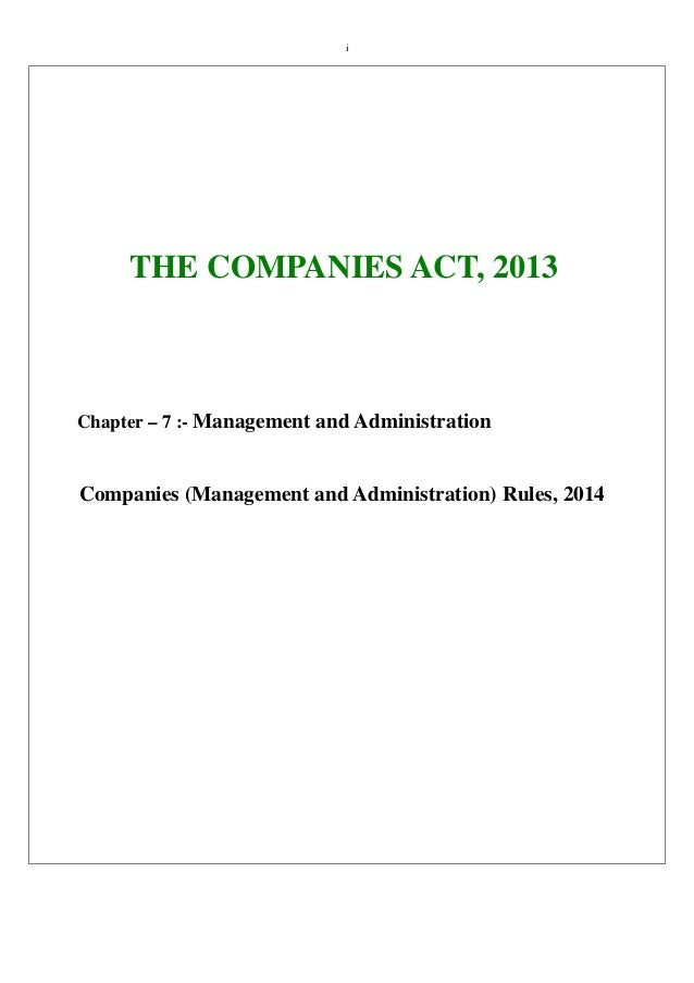 Companies Act 2013 Chapter Vii Management And Administration