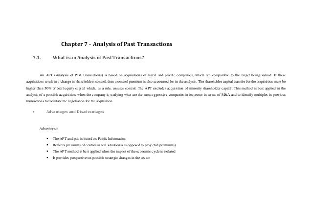 Chapter 7 - Analysis of Past Transactions    7.1.           What is an Analysis of Past Transactions?         An APT (Anal...