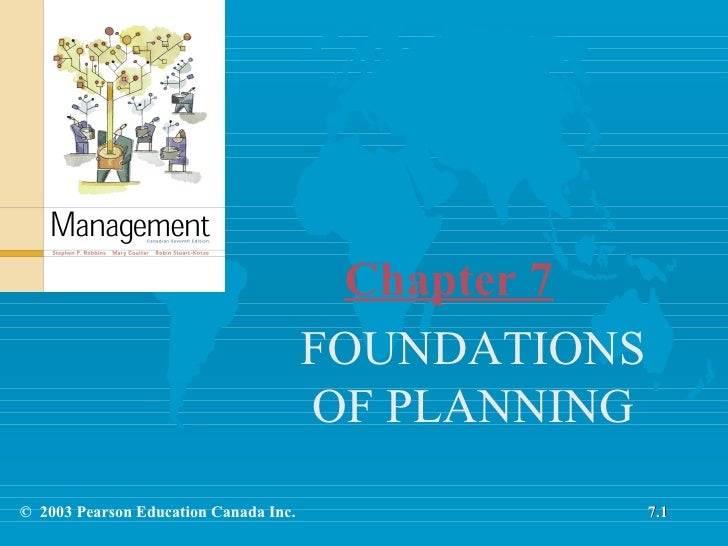 Chapter 7 FOUNDATIONS OF PLANNING 7.1 ©  2003 Pearson Education Canada Inc.