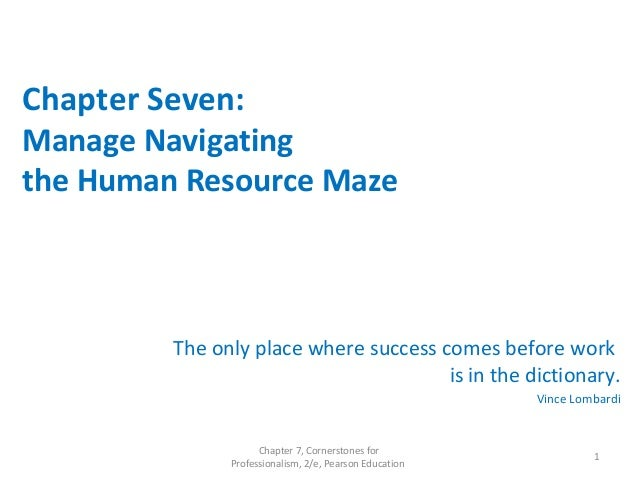 Chapter Seven: Manage Navigating the Human Resource Maze The only place where success comes before work is in the dictiona...