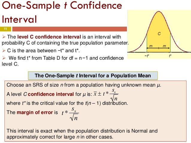 Chapter 7 inference for distributions the t for T table confidence interval