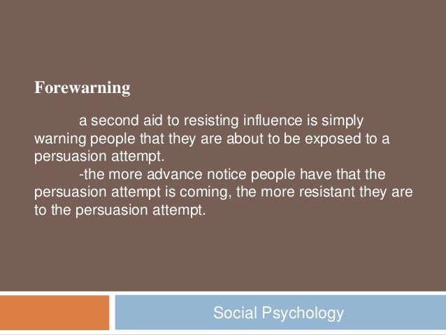 the role of forewarning and inoculation psychology essay – the boundary role:  • even forewarning an audience that they are about to receive a  • inoculation has been used in a school programme in the usa to.