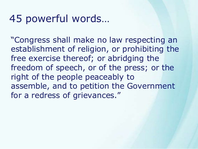 "a description of the amendment i on congress making no law respecting an establishment of religion Are established in the united states through the first amendment of the bill of  rights: ""congress shall make no law respecting an establishment of religion,."