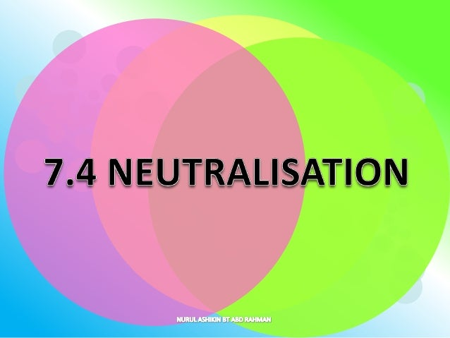 At the end of this lesson, students should be able to:  • Explain the meaning of neutralisation precisely.  • Explain the ...