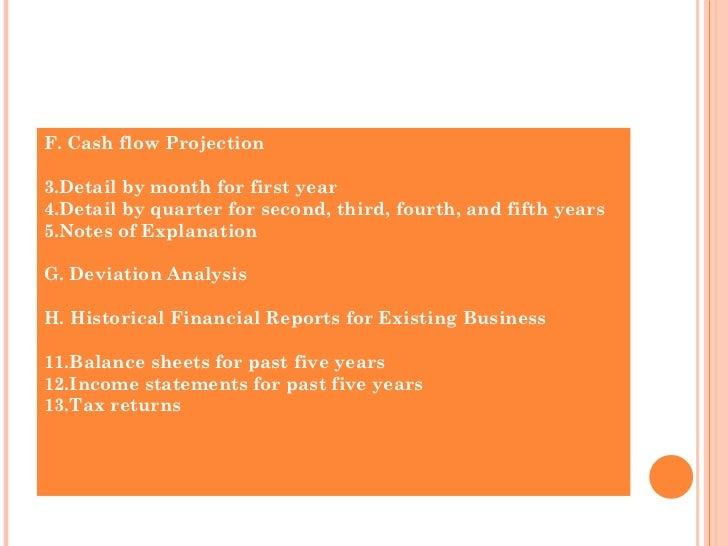 <ul><li>F. Cash flow Projection </li></ul><ul><li>Detail by month for first year </li></ul><ul><li>Detail by quarter for s...