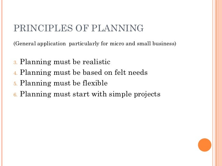 PRINCIPLES OF PLANNING <ul><li>(General application  particularly for micro and small business) </li></ul><ul><li>Planning...
