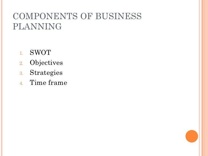 COMPONENTS OF BUSINESS PLANNING <ul><li>SWOT </li></ul><ul><li>Objectives </li></ul><ul><li>Strategies </li></ul><ul><li>T...