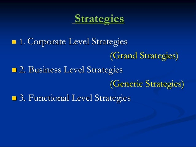 Strategies  1. Corporate Level Strategies (Grand Strategies)  2. Business Level Strategies (Generic Strategies)  3. Fun...