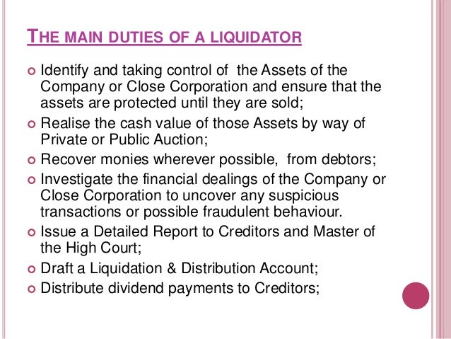 POWER OF LIQUIDATOR IN WINDING UP In compulsory winding up of a company  In voluntary winding up of company         ...