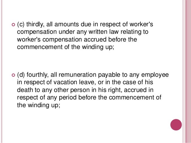   (e) fifthly, all amounts due in respect of contributions payable during the twelve months next before the commencement ...