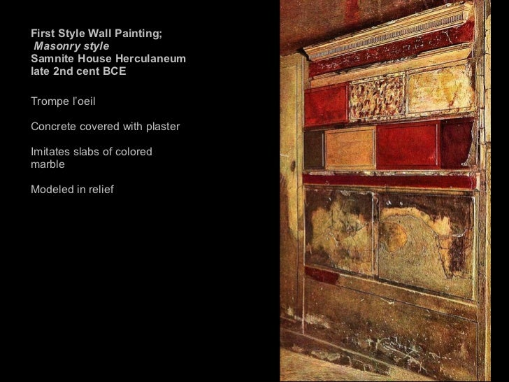 First Style Wall Painting In The Fauces Of The Samnite House AH 1 Ancient Ro...