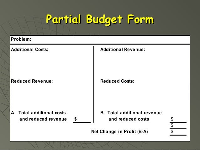 Chapter 7 Partial Budgeting