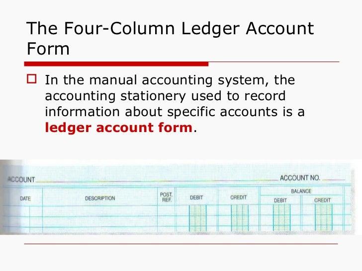 ... 9. The Four Column Ledger Account Form ...  Ledger Form