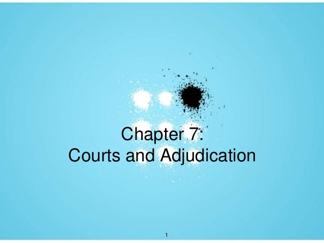 Chapter 7:Courts and Adjudication           1