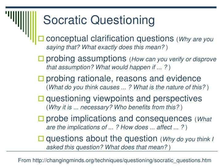 the questioning methods employed by socrates The goal of a socratic dialogue is generally to achieve a consensus or plurality when a synchronous method is initiall employed socratic questioning in.