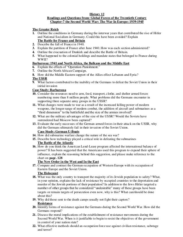 History 12 Readings and Questions from: Global Forces of the Twentieth Century Chapter-7 the Second World War: The War In ...