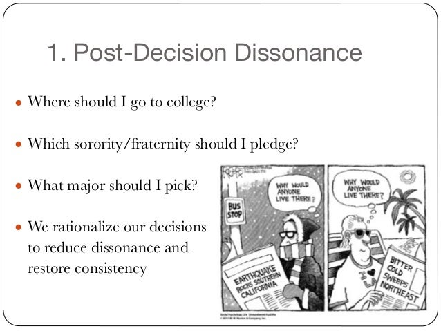 post decision dissonance The behaviour after a product purchase is called post purchase behaviour generally after a product purchase the buyer undergoes post purchase dissonance means the buyer regrets his /her purchase.