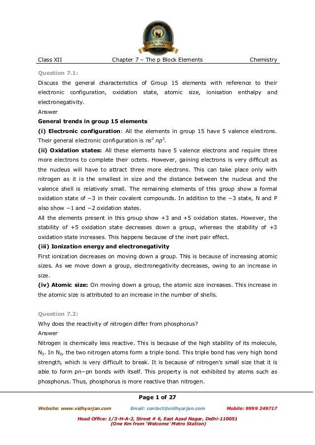 Class XII  Chapter 7 – The p Block Elements  Chemistry  Question 7.1: Discuss the general characteristics of Group 15 elem...