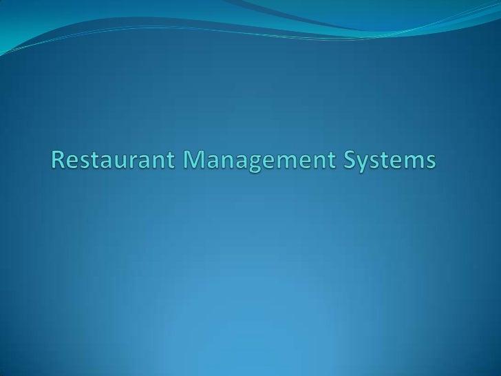 Restaurant Management Systems <br />