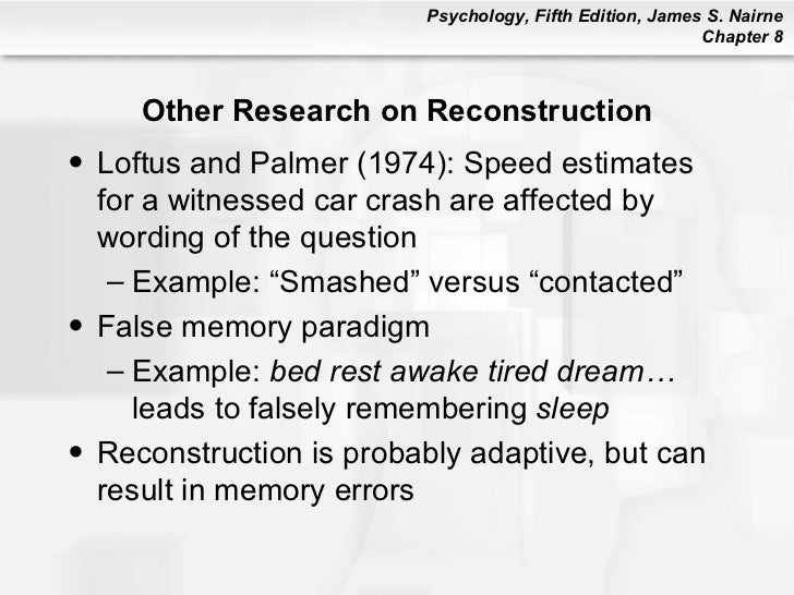 reconstructive memory This informative article on reconstructive memory is an excellent resource for your essay or school project.