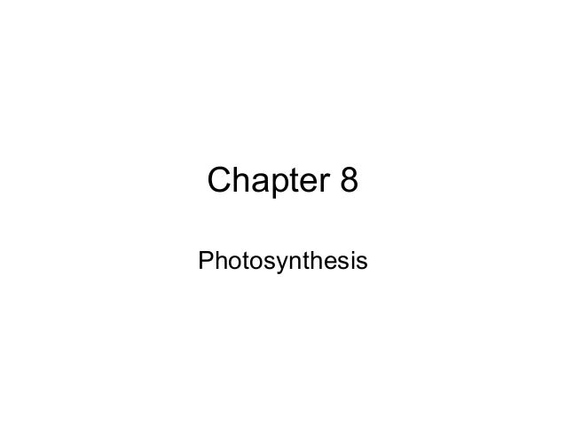 Chapter 8Photosynthesis