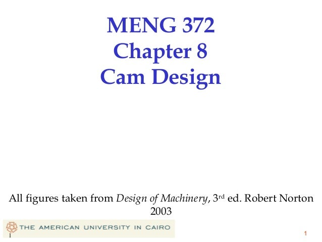 MENG 372 Chapter 8 Cam Design  All figures taken from Design of Machinery, 3rd ed. Robert Norton 2003 1  1