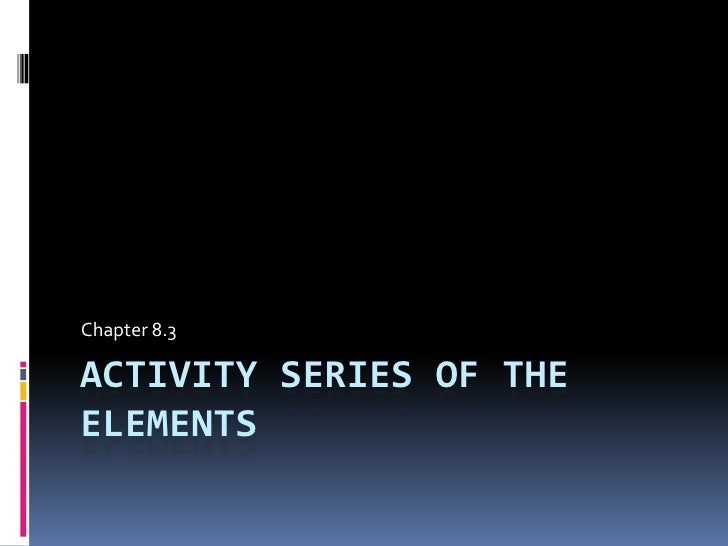 Chapter 8.3 : Activity Series of Elements