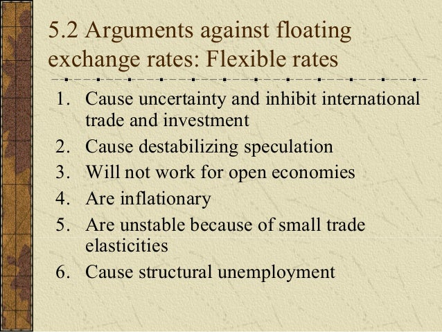 the arguments for floating and fixed exchange rates Fixed vs floating exchange rates (arguments for and against) - the arguments for and against a fixed and floating exchange rate.
