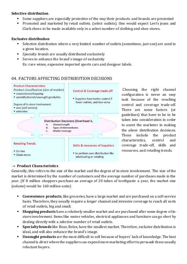 factors affecting distribution of goods