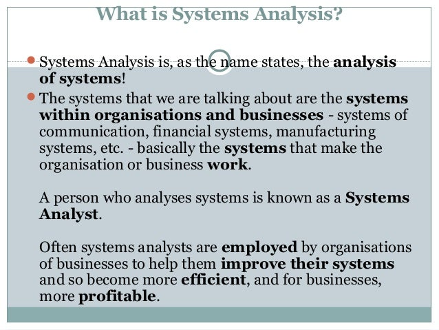 thesis systems analysis