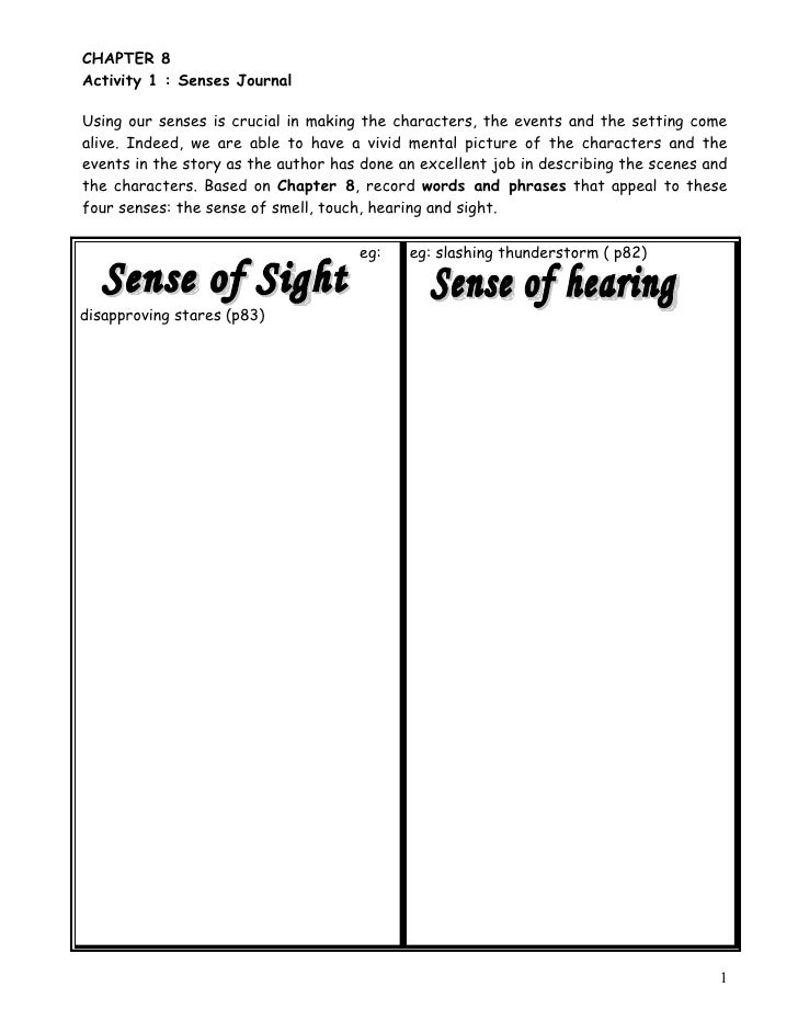 CHAPTER 8 Activity 1 : Senses Journal  Using our senses is crucial in making the characters, the events and the setting co...
