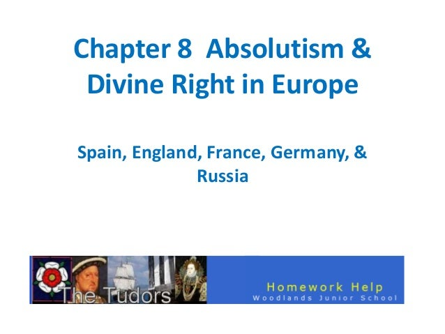 Chapter 8 Absolutism & Divine Right in Europe Spain, England, France, Germany, & Russia