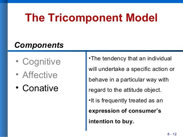8 - 12 The Tricomponent Model • Cognitive • Affective • Conative •The tendency that an individual will undertake a specifi...
