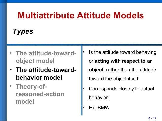 8 - 17 Multiattribute Attitude Models • The attitude-toward- object model • The attitude-toward- behavior model • Theory-o...