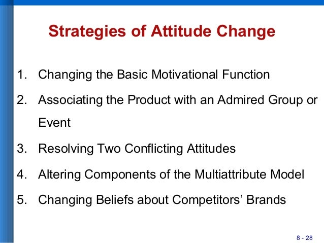 8 - 28 Strategies of Attitude Change 1. Changing the Basic Motivational Function 2. Associating the Product with an Admire...