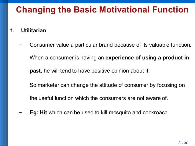 8 - 30 Changing the Basic Motivational Function 1. Utilitarian – Consumer value a particular brand because of its valuable...