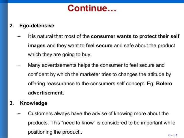 8 - 31 Continue… 2. Ego-defensive – It is natural that most of the consumer wants to protect their self images and they wa...