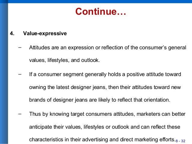 8 - 32 Continue… 4. Value-expressive – Attitudes are an expression or reflection of the consumer's general values, lifesty...