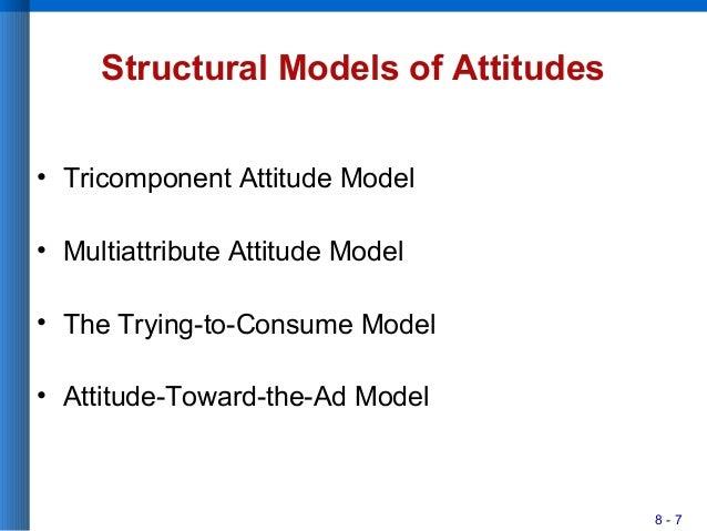 8 - 7 Structural Models of Attitudes • Tricomponent Attitude Model • Multiattribute Attitude Model • The Trying-to-Consume...